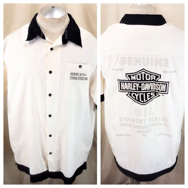 "Harley Davidson Motorcycles ""Genuine Oil"" (XL) Retro Button Up White Shop Shirt"