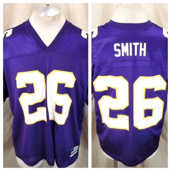Vintage Adidas Minnesota Vikings Robert Smith #26 (Med) Retro NFL Football Graphic Purple Jersey