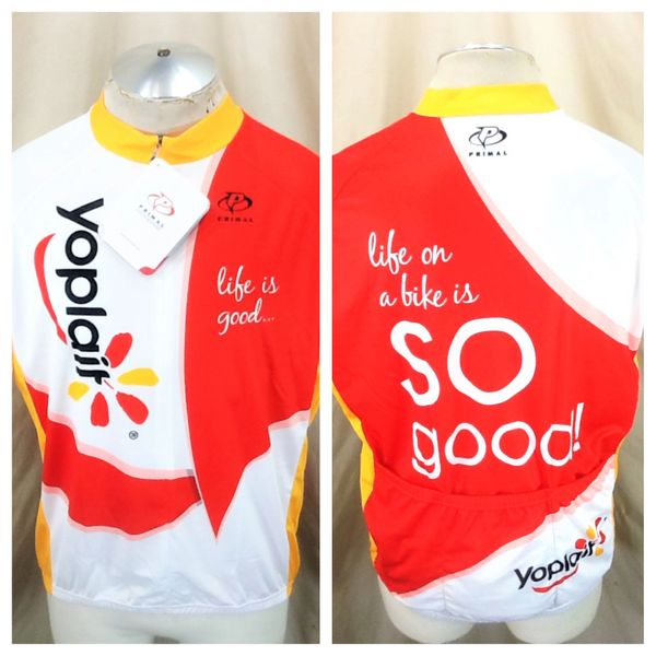 "New! Primal Yoplait ""Life On A Bike Is So Good"" (XL) Retro 3/4 Zip Up Graphic Cycling Jersey"