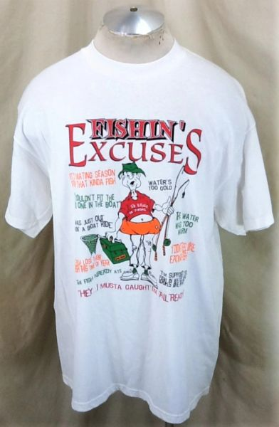 "Vintage 90's Fishing Outdoorsman ""Excuses"" (XL) Retro Graphic Angling T-Shirt White"