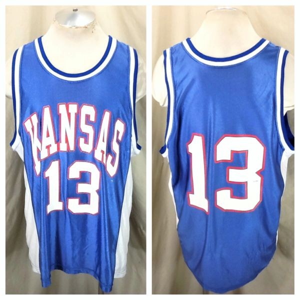 Vintage 80's Dodger Kansas Jayhawks #13 (XL) Retro NCAA Basketball Nylon Jersey