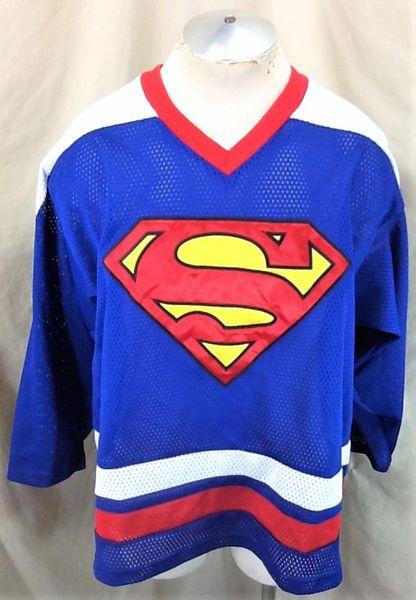 """Vintage 1999 Warner Bros """"Superman"""" (XL) Retro Action Comics Hockey Jersey Blue"""