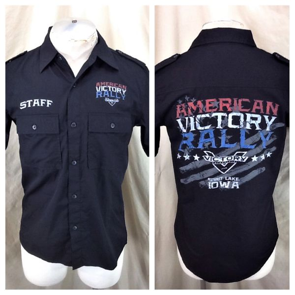 """Victory Motorcycles American Victory Rally """"Staff"""" (Small) Button Up Graphic Shop Shirt"""