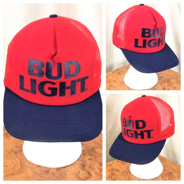 Vintage 80's Bud Light Beer Breweriana Retro Snap Back Foam Insulated Trucker Hat