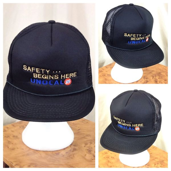 "Vintage 80's Philips 66 Union 76 Unocal ""Safety Begins Here"" Retro Snap Back Graphic Trucker Hat"