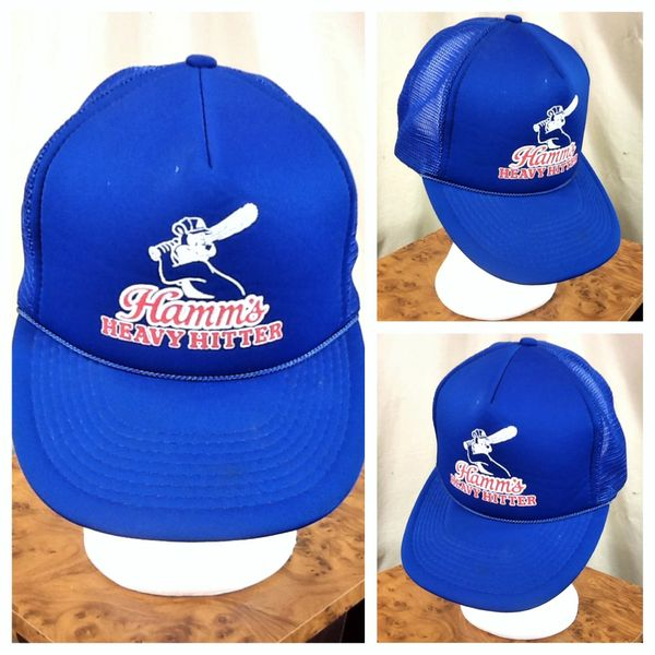 "Vintage 80's Hamm's Beer ""Heavy Hitters"" Iconic Bear Graphic Breweriana Snap Back Trucker Hat"