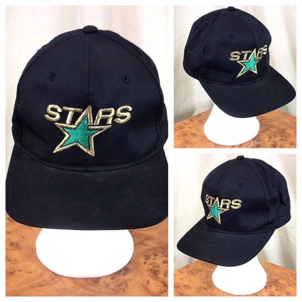 Vintage 90's Minnesota North Stars Retro NHL Hockey Embroidered Snap Back Hat Black