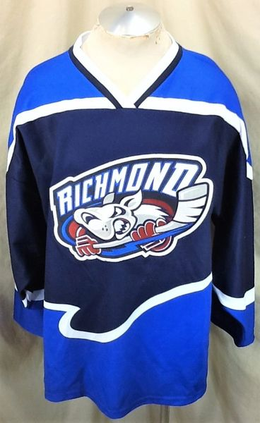 Richmond RiverDogs UHL League (Large) Retro Knit Polyester Graphic Hockey Jersey Blue