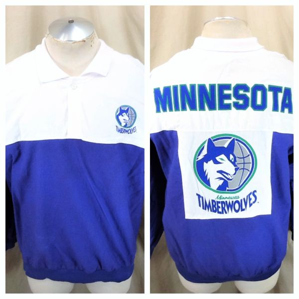 Vintage 90's Minnesota Timberwolves (L/XL) Retro Wolves NBA Basketball Light Weight Long Sleeve