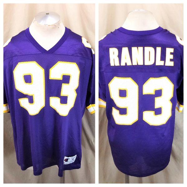 Vintage 90's Champion Minnesota Vikings John Randle #93 (48/XL) Retro NFL Graphic Purple Football Jersey