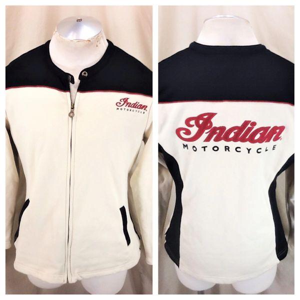 New! Indian Motorcycles Women's Long Sleeve (XL) Retro Gear Heads Zip Through Sweatshirt