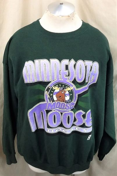 Vintage 90's Minnesota Moose Hockey (2XL) Retro IHL Graphic Crew Neck Sweatshirt Green