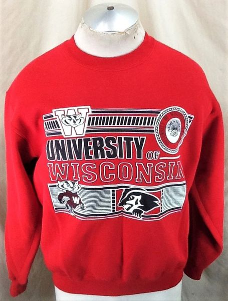 Vintage 90's University of Wisconsin Badgers (Med/Large) Retro NCAA Crew Neck Sweatshirt Red