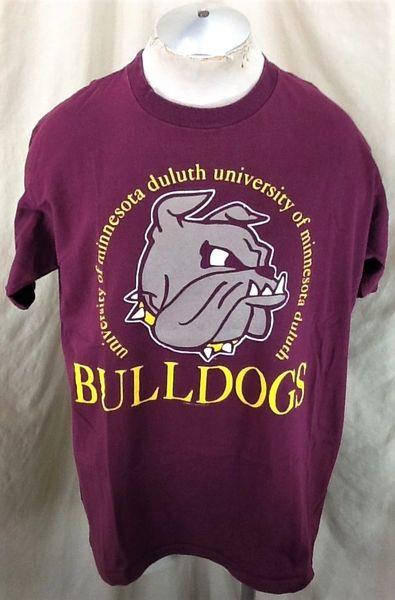 Vintage 90's Minnesota Duluth Bulldogs (XL) Retro NCAA Logo Single Stitch Maroon T-Shirt