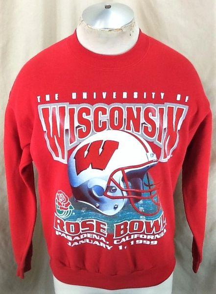 Vintage 1999 Wisconsin Badgers Rose Bowl (Med) Retro NCAA Graphic Crew Neck Sweatshirt