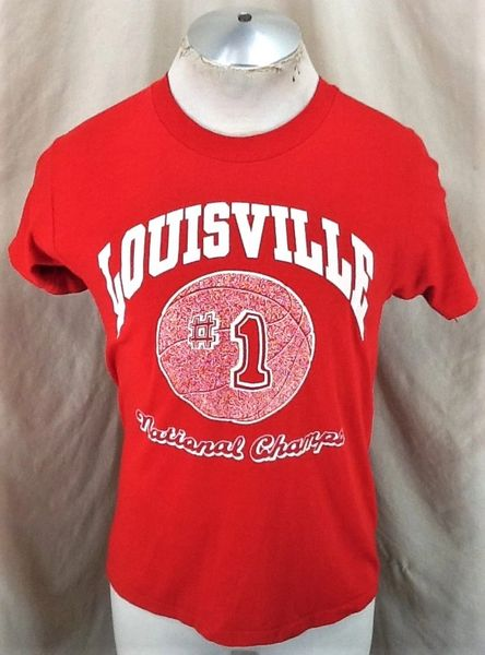 """Vintage 1986 Louisville Cardinals """"National Champs"""" (Sm/Med) Retro NCAA Graphic Red T-Shirt"""