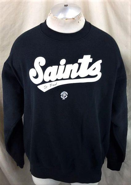 Vintage 1996 St. Paul Saints Baseball Club (XL) Retro Classic Black Crew Neck Sweatshirt