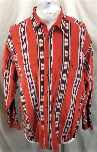 Vintage Wrangler Western Wear (XL) Retro Country Long Sleeve Button Up Shirt Orange