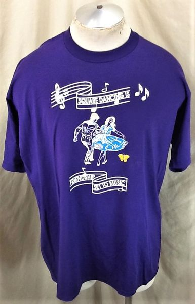 "Vintage 90's Square Dancing ""Friendship Set To Music"" (XL) Retro Graphic Classic T-Shirt Purple"