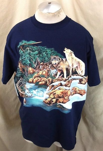 """New! Vintage 90's Habitat Conservation """"Wolves"""" (Large) Retro All Over Graphic Nature T-Shirt"""