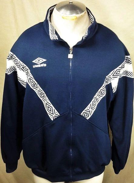 Vintage 90's Umbro Soccer Athletic Wear (Large) Retro Futbol Full Zip Up Blue Track Jacket