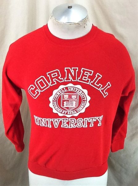 "Vintage 80's Cornell University ""Big Red"" (Med Short Length) Retro Ivy League Crew Neck Red Sweatshirt"