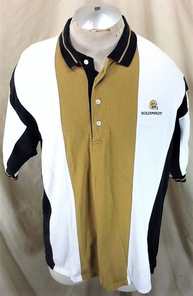 Vintage 90's Purdue Boilermakers Football (Large) Retro NCAA Apparel Polo Shirt