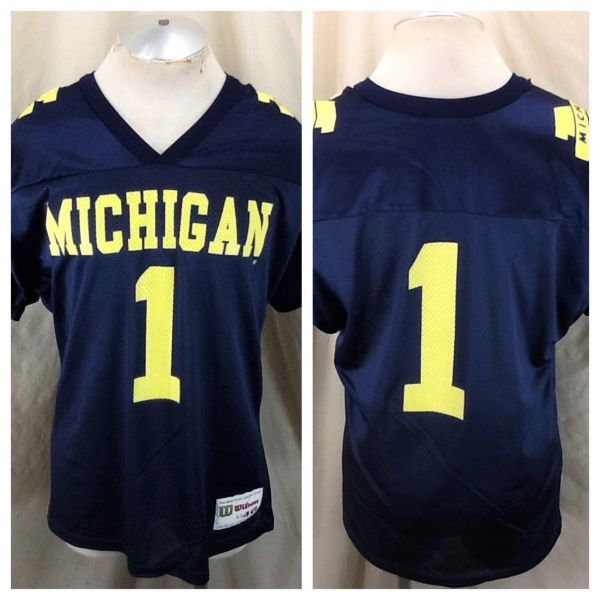 Vintage 80's Wilson Michigan Wolverines #1 (Large/46) Retro NCAA Football Graphic Jersey