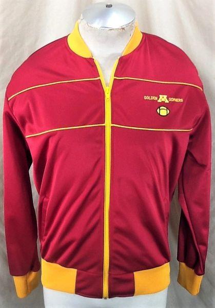 Vintage 80's Minnesota Gophers Football (Large) Retro NCAA Apparel Track Jacket Maroon