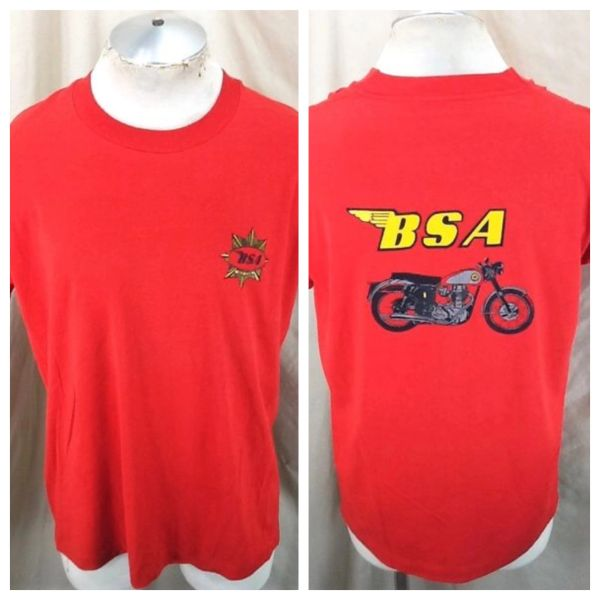 Vintage 90's BSA Gold Star Motorcycle (Large) Retro Gear Heads Single Stitch Red T-Shirt