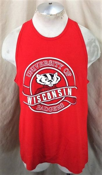 "Vintage 90's Wisconsin Badgers ""Bucky"" (L/XL) Retro NCAA Apparel Graphic Tank Top"