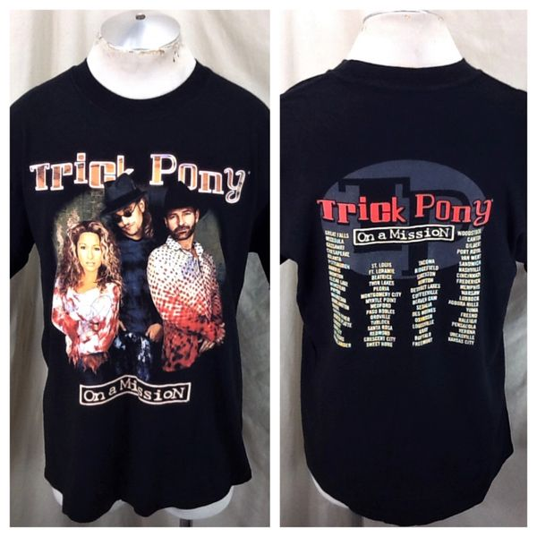 "Vintage 2002 Trick Pony ""On A Mission"" (Large) Retro Country Music Autographed T-Shirt"