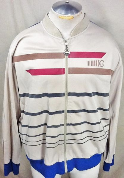 Vintage 1980's Track & Court Tennis (Large) Retro Full Zip Up Long Sleeve Track Jacket