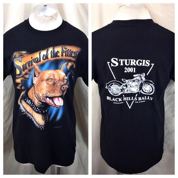 """Vintage 2001 Sturgis Black Hills Rally (Med) """"Survival of the Fittest"""" Graphic T-Shirt"""