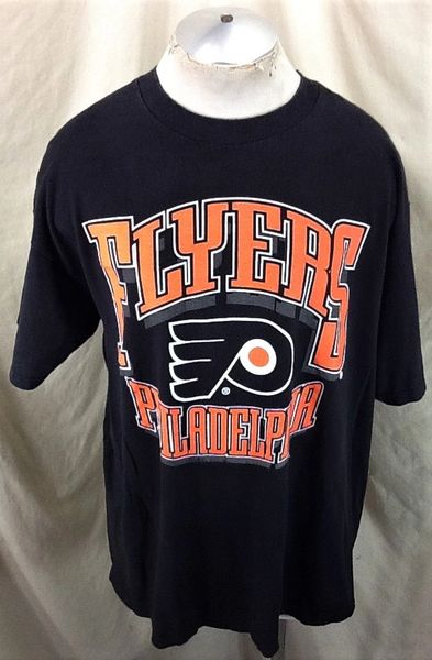 Vintage 90's Philadelphia Flyers Hockey Club (2XL) Retro NHL Apparel Graphic T-Shirt Black