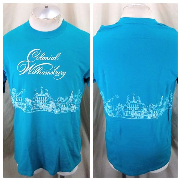 Vintage 90's Colonial Williamsburg Virginia (Large) Retro Tourism Graphic T-Shirt Green