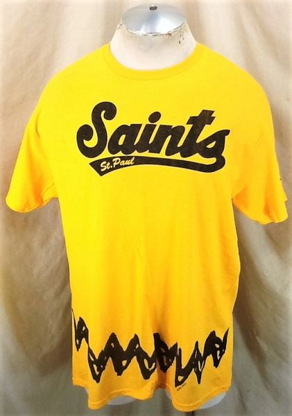 """St. Paul Saints Baseball """"Charlie Brown"""" (Large) Independent League Promo T-Shirt Yellow"""