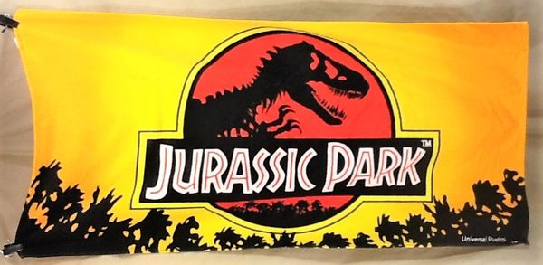 Universal Studios Jurassic Park Classic Logo Graphic Movie Beach Towel Wall Art Yellow