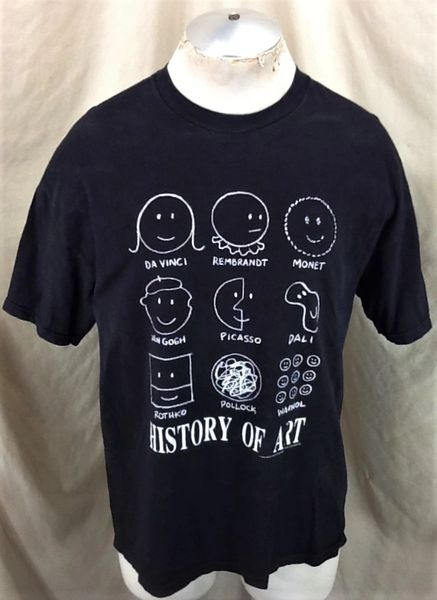 "Vintage 1991 ""History of Art"" Themed (Large) Retro Funny Graphic Black T-Shirt"