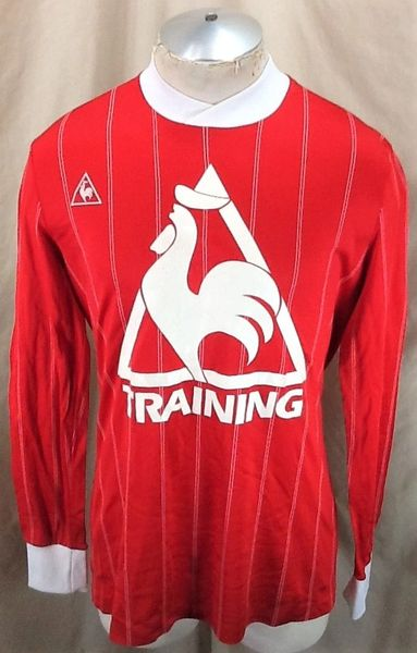 "Vintage 1980's Le Coq Sportif ""Training"" (Small/Med) Retro Graphic Athletic Soccer Jersey Red"