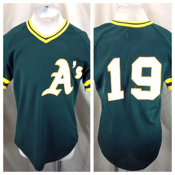 Vintage 80's Oakland A's #19 Baseball (Med/Large) Retro MLB Stitched Green Jersey