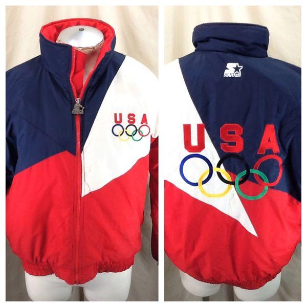 Vintage 90's Starter U.S. Olympic Team (Large) Retro Full Zip Up Winter Puffer Jacket