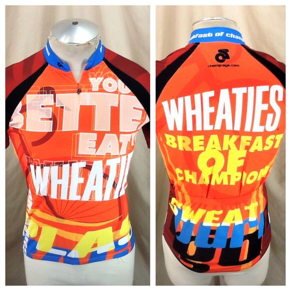 "Champ-Sys Wheaties ""Breakfast of Champions"" (Small) Retro Club Cut 1/2 Zip Up Cycling Jersey"