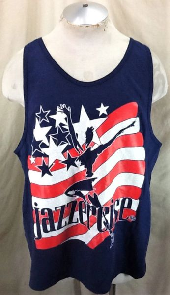 Vintage 2000's Jazzercise Aerobic Exercise & Dance Fitness (XL) Retro Active Wear Tank Top