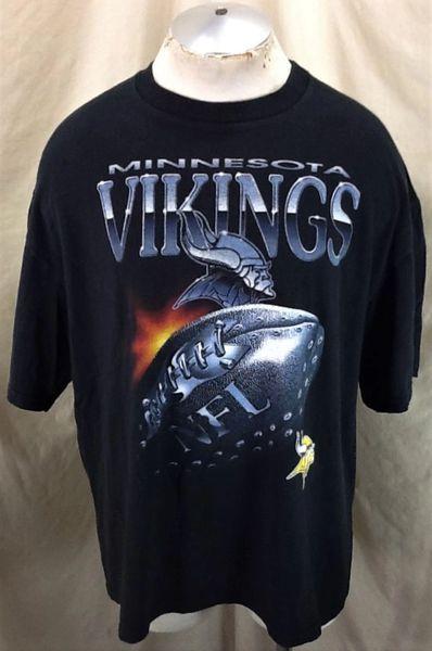 Vintage 90's Minnesota Vikings Football Club (2XL) Retro NFL Graphic Black T-Shirt