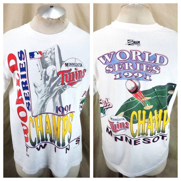 "Vintage 1991 Minnesota Twins ""World Champs"" (Large) Retro MLB Baseball World Series Graphic T-Shirt"