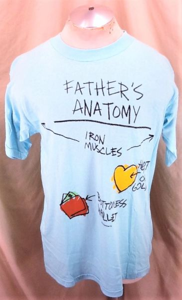 "Vintage 90's Father's Day Humor ""Father's Anatomy"" (Large) Retro Graphic Comedy T-Shirt"