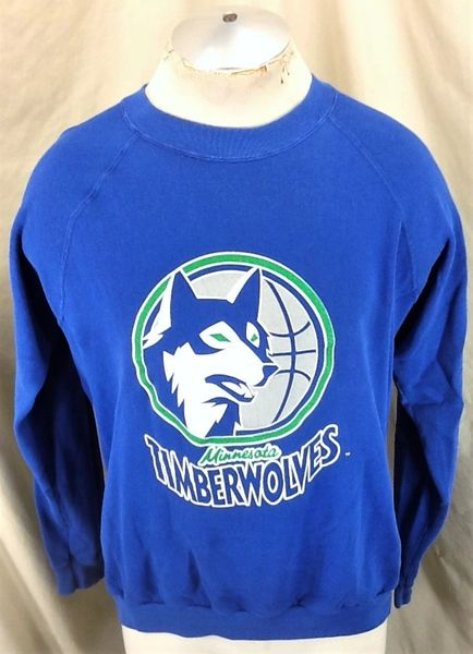 Vintage 90's Minnesota Timberwolves Basketball (L/XL Short Length) Wolves NBA Sweatshirt Blue