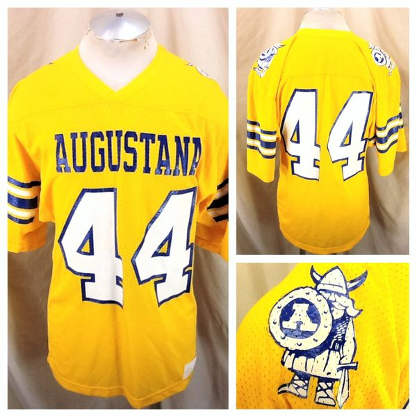 Vintage 80's Russell Athletic Augustana Vikings #44 (Med) Retro NCAA Football Yellow Jersey