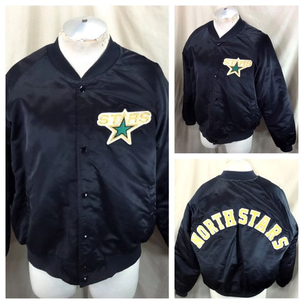Vintage 1980's Chalk Line Minnesota North Stars (XL) Retro Snap Up NHL Satin Jacket Black